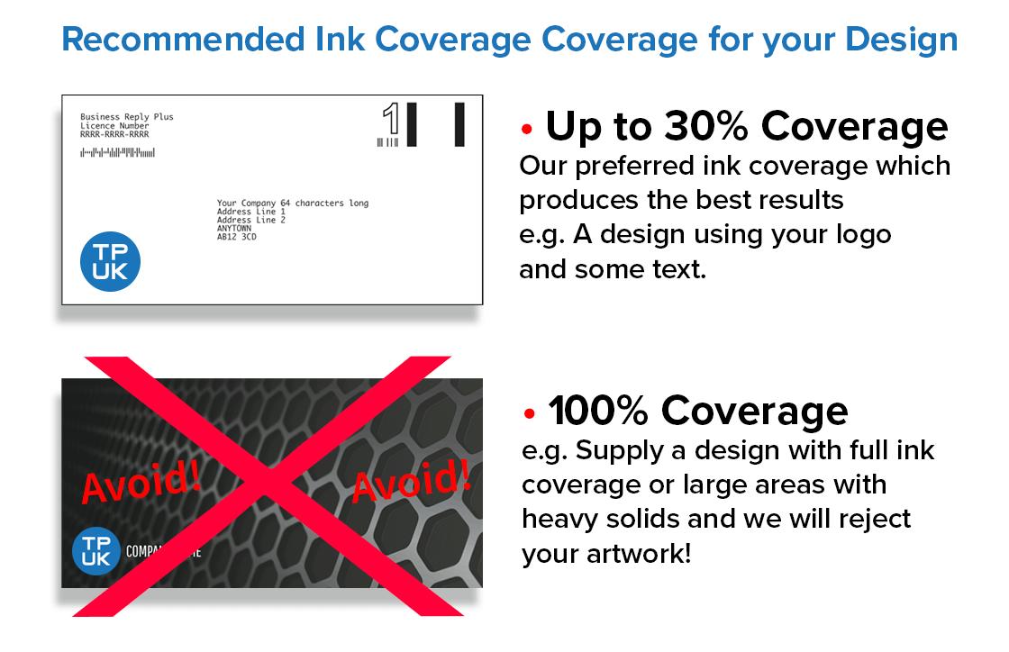 Ink levels guide for full colour printed envelopes